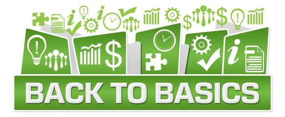 Back To Basics Business Symbols On Top Green