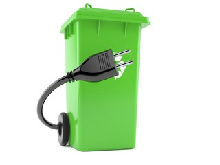 Dustbin with electric cable
