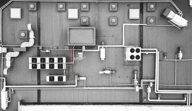 top view of air condition system on the building roof top
