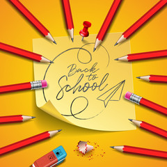 Back to school design with graphite pencil, eraser and sticky notes on yellow background. Vector illustration with post it,red pin and hand lettering for greeting card, banner, flyer, invitation