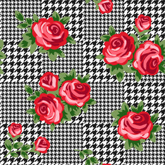 vector houndstooth seamless black and white pattern with red retro roses