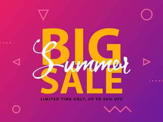 Big Summer Sale sign with ultraviolet background. Vector web banner template illustration