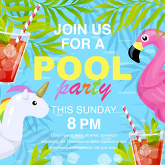 Vector illustration, invitation card design, join us for a Pool party text. Inflatable flamingo and unicorn in cartoon style.