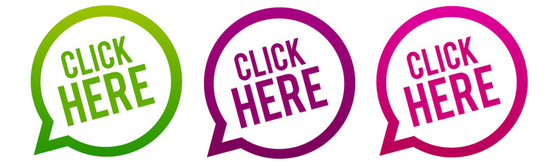 Click here - Round web Buttons. Circle Eps10 Vector.