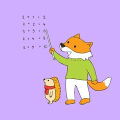 Cartoon cute fox and hedgehog teaching math vector.