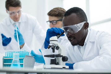 close up.a multinational group of scientists is conducting research