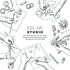 Kids art class work process. Vector sketch illustration of painting, drawing children. Craft and creativity concept.
