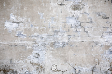 Fotobehang Oude vuile getextureerde muur Damaged grey concrete wall exterior background texture