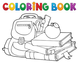 Poster For Kids Coloring book school equipment 1