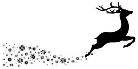Reindeer With Snowflakes Black