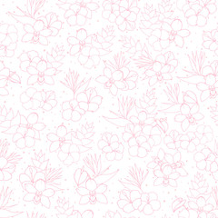 Vector tropical repeat pattern with orchid, hibiscus and bird of paradise flowers outline on the white dotted background. Backdrop exotic floral line art in pink pastel colors.