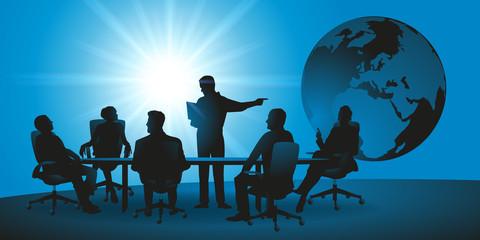 réunion - entreprise - international - commerce - monde - globe - présentation - marché