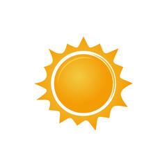 Sun logo icon. Simple sunshine stylized symbol. Vector illustration isolated on white background