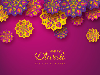 Diwali festival holiday design with paper cut style of Indian Rangoli. Purple color background, vector illustration.