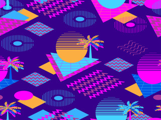 Memphis seamless pattern with palm tree. Geometric elements memphis in the style of 80s. Synthwave futuristic background. Retrowave. Vector illustration