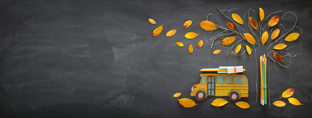 Back to school concept. Top view banner of school bus and pencils next to tree sketch with autumn dry leaves over classroom blackboard background.