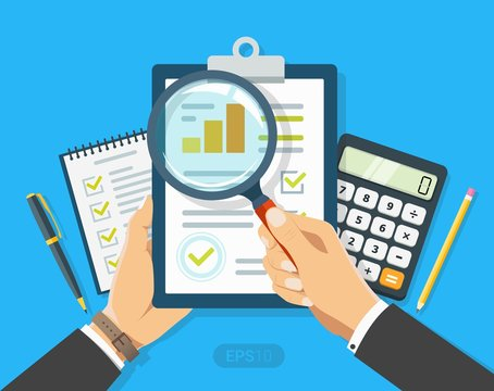 Paper sheet in hand with magnifier, paperwork, consultant, concept business adviser, financial audit, seo analytics, auditing tax process, big data analysis, research report, market stats calculate