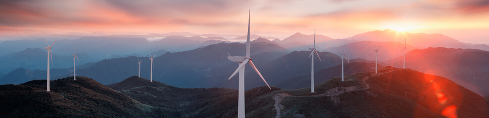 Wind turbines on the mountain Wall mural