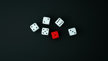 Red and white dice on the black floor. Dice for gambling artwork .Meaning of hope and hopelessness .Red and white dice on top view .3D Illustration.
