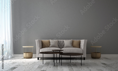 Modern Living Room Interior Design And Grey Texture Wall Pattern Background Wall Mural Teeraphan