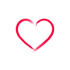 Vector Heart, Brush Painting, Red Symbol Isolated, Love Concept.