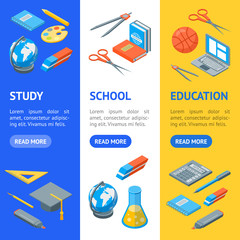 School Equipments and Tools Banner Vecrtical Set Isometric View. Vector