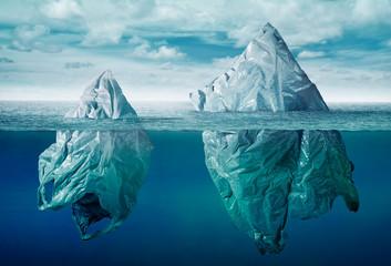Fototapeta plastic bag environment pollution with iceberg of trash obraz