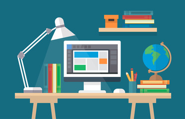 Learning and education, concept illustration with a desk with books, computer. Online learning, graduation, back to school, school, university. Vector illustration in flat style
