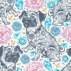 Vintage style traditional tattoo flash bulldog or pug dog seamless doodle pattern.