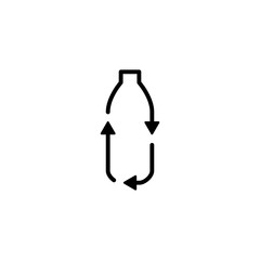 recycle plastic bottle logo icon vector line outline monoline