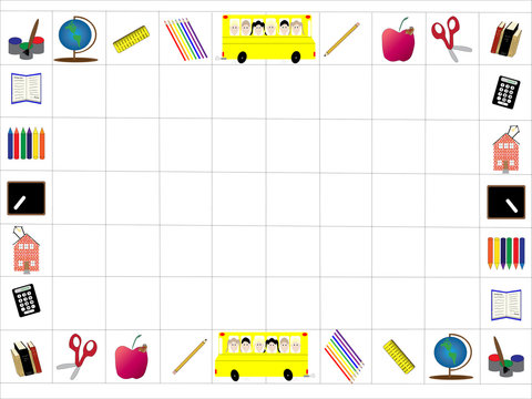 Back to School border or frame with grid