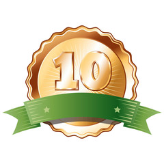 Bronze Plate with Green Ribbon - Badge with Number 10.