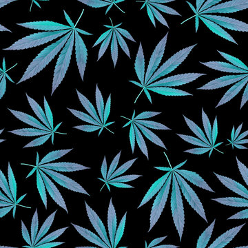 design textile, wallpaper. blue leaves cannabis Marijuana. Seamless modern Pattern