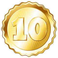 Gold Plate - Badge with Number 10.