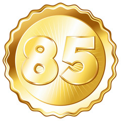 Gold Plate - Badge with Number 85.