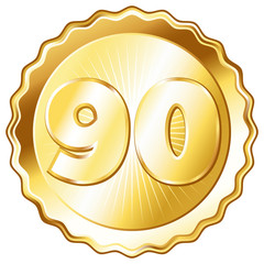 Gold Plate - Badge with Number 90.