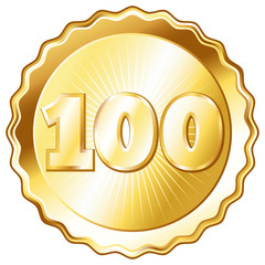 Gold Plate - Badge with Number 100.