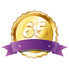 Gold Plate - Badge with Number 65 with a Purple Ribbon.