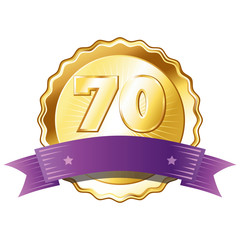 Gold Plate - Badge with Number 70 with a Purple Ribbon.