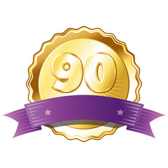 Gold Plate - Badge with Number 90 with a Purple Ribbon.