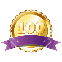 Gold Plate - Badge with Number 100 with a Purple Ribbon.