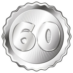 Silver Plate - Badge with Number 60.