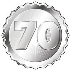 Silver Plate - Badge with Number 70.