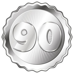 Silver Plate - Badge with Number 90.