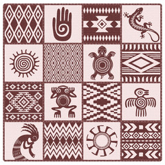 Illustration of Native Americans ethnic patterns and symbols: hand, sun, lizard, frog, bird, turtle, kokopelli. Shades of brown, dark red.