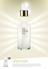 Cosmetic ad, Serum with template and light bars from behind