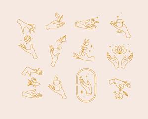 Flat hand symbols beige