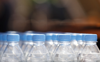 Many bottles of pure mineral water