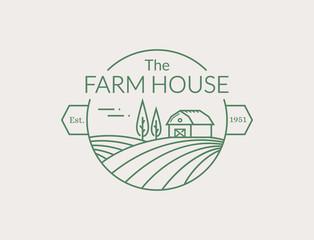 Farm House outline logo. Vector line emblem.