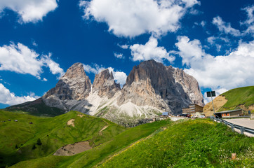 Sassolungo and Sassopiatto mountains, Italy. Photo from a hiking path in Dolomites, Dolomiti, Sella Alto Adige, South Tyrol
